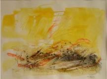 2003, Scirocco acquarello con le cenere dell Etna, 40x50cm