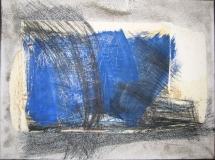 2000,o.T.(blau),Collage auf LW,30 cm x 40 cm