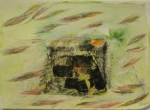 2011,Insel,Stoff,Sand,Bleistift,18 x 23 cm,