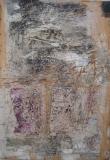 1998,Spuren,Zeichnung,Collage auf Holz,100 x 70 cm,