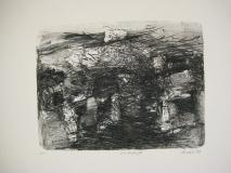 1992,Landschaft . Lithographie von 2 Steinen60x80cm