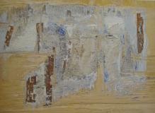 2001, Wuchs , Öl, Blattsilber, Holz, 20x28cm