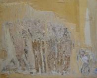 2001, Wuchs I, Öl, Blattsilber, Holz, 20x28cm