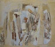 2001, Wuchs II, Öl, Blattsilber, Holz, 20x28cm