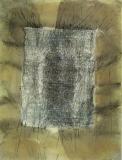 2001, o.T; Öl, Sand, Stoff, LW, 130x110cm