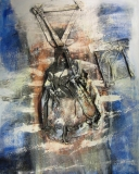 2002, Wanderer, Sand, Stoff, LW, 150x120cm