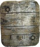 2006, Fundstück, Bootsplanke, 100x90cm