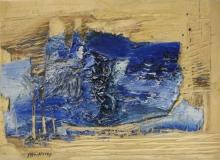 2007, blauer Block, Öl, Holz, 20x30cm