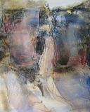 2009, Gestalt, Öl, Sand, Stoff, LW, 100x80cm