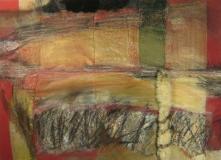 2009, Rosies Sofa, Öl, Sand auf Leder, Soff, Inlet, Fell, 100x130cm