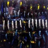 2019, o.T. Öl auf und unter Glas/LW, 100 x 100 cm