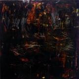 2019, o.T. Öl unter Glas/LW, 100 x 100 cm