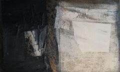 1987, zwei Welten, Öl, Stoff, Papier auf Rupfen, 80x110cm