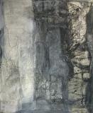 1989, Altarbild, Öl, Sand, Stoff auf Holz, 160x140cm