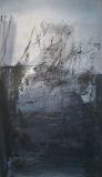 1991, Stadt am Abend, Öl auf Holz, 100x50cm