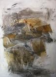 1993, Frühling, Öl, Sand, Stoff auf LW, 125x100cm