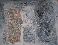 1993, Meditation, Öl, Sand, Blattkupfer auf Holz, 32x40cm