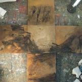 1994, Kreuz, Öl, Sand, Fußbodenplatten, 180x180cm