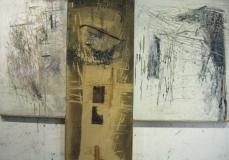 1994, Kreuz, Öl, Sand, Holz, 150x120cm