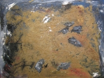 1995, Erdklang, Öl, Sand, Holz, 60x80cm