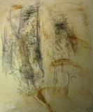 1997, kleine Melodie, Zeichnung, Sand, Japanpapier auf LW, 120x100cm