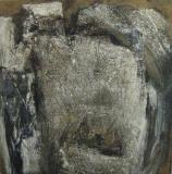 1998, o.T; Öl, Sand, Holz, 60x60cm
