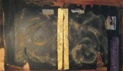 1998, geteilt, Öl, sand, Blattgold, auf Holz, 70x90cm