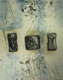 1998, drei Taschen, Öl, Stoff, LW, 150x120cm