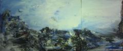 2008, blaue Woge, Öl, LW, 100x220cm