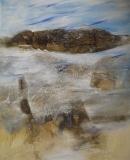 2009, Felsen, Öl, Sand, LW, 150x120cm