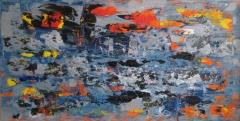 2018, passaggio (orange-grau), Öl auf LW, 100x200cm
