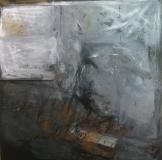 1998, -o.T.(grau), Öl, Sand auf LW, 200x200cm