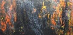 2010, Phönix, Öl hinter Acrylglas auf Holz, 200x100cm