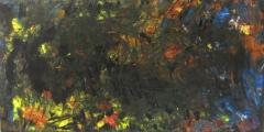 2011, Farbspiel, Öl, Glas, 50x100cm