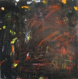 2016, red lines, Öl, Glas, 100x100cm