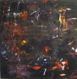 2016, rot, gelb, Öl, Glas, 100x100cm